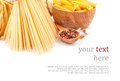 Different types of pasta dishes italian food ingredients Royalty Free Stock Image