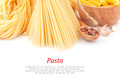 Different types of pasta dishes italian and text food ingredients Stock Photography
