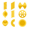 Different Types of Pasta Icons Set. Vector Royalty Free Stock Photo