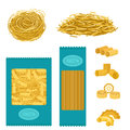 Different types of pasta whole wheat corn rice noodles organic food macaroni yellow nutrition dinner products vector