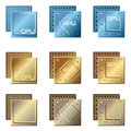 Different types of processors stylized vector collection microprocessors graphics processing unit central processing unit and Stock Photography