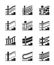 Different types of railings vector illustration Royalty Free Stock Photography