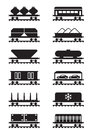 Different types of railway wagons vector illustration Royalty Free Stock Photography