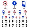 Different types of road signs cartoon, black icons in set collection for design. Warning and prohibition signs vector Royalty Free Stock Photo