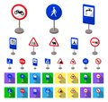 Different types of road signs cartoon,flat icons in set collection for design. Warning and prohibition signs vector Royalty Free Stock Photo