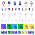 Different types of road signs cartoon icons in set collection for design. Warning and prohibition signs vector symbol Royalty Free Stock Photo