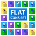 Different types of road signs flat icons in set collection for design. Warning and prohibition signs vector symbol stock Royalty Free Stock Photo