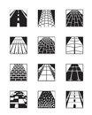 Different types of road surfaces vector illustration Royalty Free Stock Photo