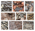 Different types of rubble from demolition Stock Photos