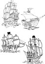 Different types of sailboats the illustration shows several kinds ancient sailing ships illustration done on separate layers Royalty Free Stock Photos