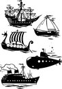 Different types of ships the illustration shows some species sea transport it contours the various in the cartoon style Stock Images