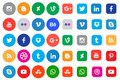 Social media icon collection buttons Royalty Free Stock Photo