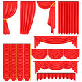 Different Types Of Theatrical Stage Curtain And Drapes In Red Velour Vector Collection Royalty Free Stock Photo