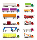 Different types of trucks and lorries icons Stock Photography