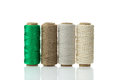 Different types of twine synthetic jute cotton and sisal Stock Photo