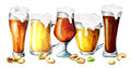 Different varieties of beer and snacks. Watercolor