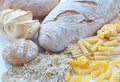 Different varieties of Italian pasta and homemade bread Royalty Free Stock Photo