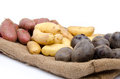 Different varieties of potatoes on a burlap Royalty Free Stock Photo