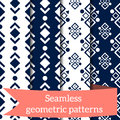 Different vector seamless patterns. Endless texture for wallpaper, fill, web page background, surface texture. Set of monochrome g Royalty Free Stock Photo