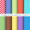 10 different vector seamless patterns. Set of variegated geometric ornaments. Royalty Free Stock Photo