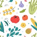 Different veggies seamless vector pattern of hand drawn fresh tasty vegetarian raw food. Repeat wallpaper with cooking fresh tasty