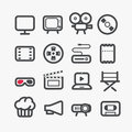 Different video industry icons set with rounded corners design elements Stock Photography