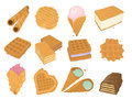 Different wafer cookies waffle cakes pastry cookie biscuit delicious snack cream dessert crispy bakery food vector