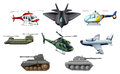 Different war transportations illustration of the on a white background Royalty Free Stock Images