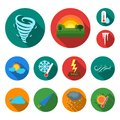 Different weather flat icons in set collection for design.Signs and characteristics of the weather vector symbol stock Royalty Free Stock Photo