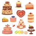 Different wedding cream birthday cake pie vector illustration celebration food