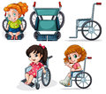Different wheelchairs illustration of the on a white background Royalty Free Stock Images