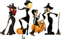 Different witches in dresses and hats with brooms