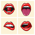 Different women's lips vector icon set isolated from background. Red lips close up girls. Shape sending a kiss, kissing