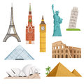 Different world famous symbols set isolate on white. Historical buildings, landmarks. Vector illustrations Royalty Free Stock Photo