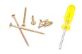 Different yellow screwdriver and golden screws on white background Stock Photos