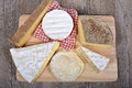 Differents french cheeses of country to france Stock Images