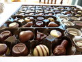 Differents kinds of chocolates in a box Royalty Free Stock Images