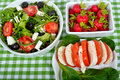 Differents salad with vegetables and greens Royalty Free Stock Photos