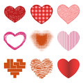 Differents style red heart vector icon isolated love valentine day symbol and romantic design wedding beautiful