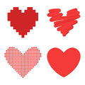 Differents style red heart vector icon  love valentine day symbol and romantic design wedding beautiful Royalty Free Stock Photo