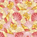 Difficult cockleshells seamless pattern vector cartoon background Royalty Free Stock Images