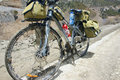 Difficult touring the long journey bicycle is blocked by mud Royalty Free Stock Photo