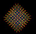 Diffraction of light from the led array obtained through grating Stock Images