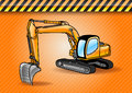 Digger excavator on the orange background Stock Photos
