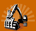 Digger with sunburst Royalty Free Stock Image