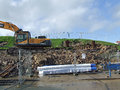 Digger at Swanage stabilisation works Royalty Free Stock Images