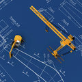 Diggers and yellow crane with sketch Royalty Free Stock Photo