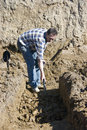 Digging house foundations Royalty Free Stock Photo