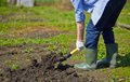 Digging image of male farmer in the garden Stock Photos