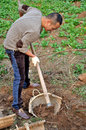 Digging soil with hoe a man holding a in his hands and working on land Stock Images